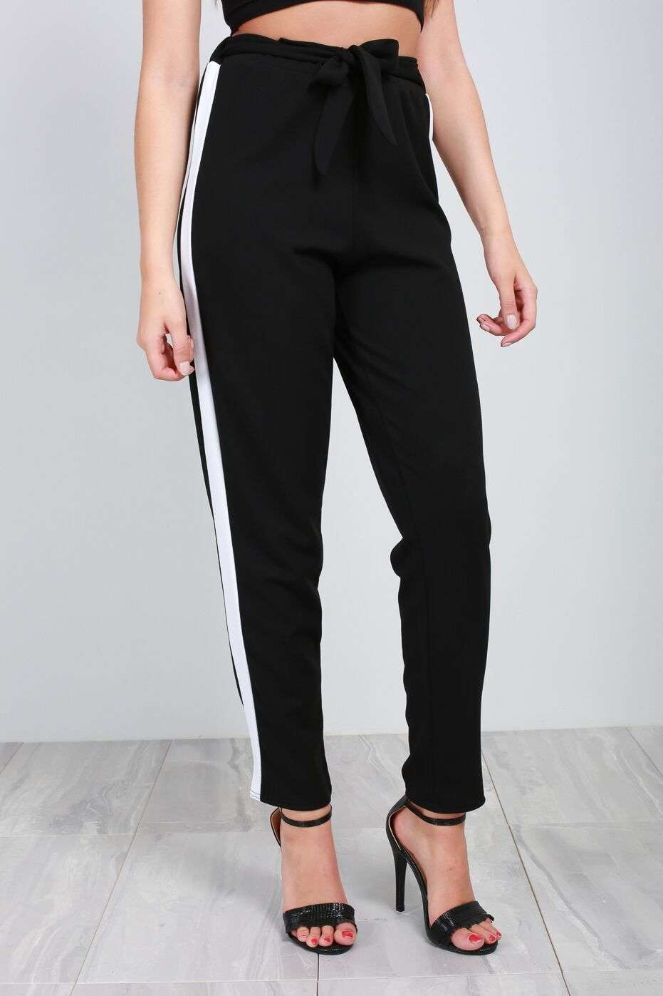 Blue Sporty Stripe High Waist Belted Trousers - bejealous-com