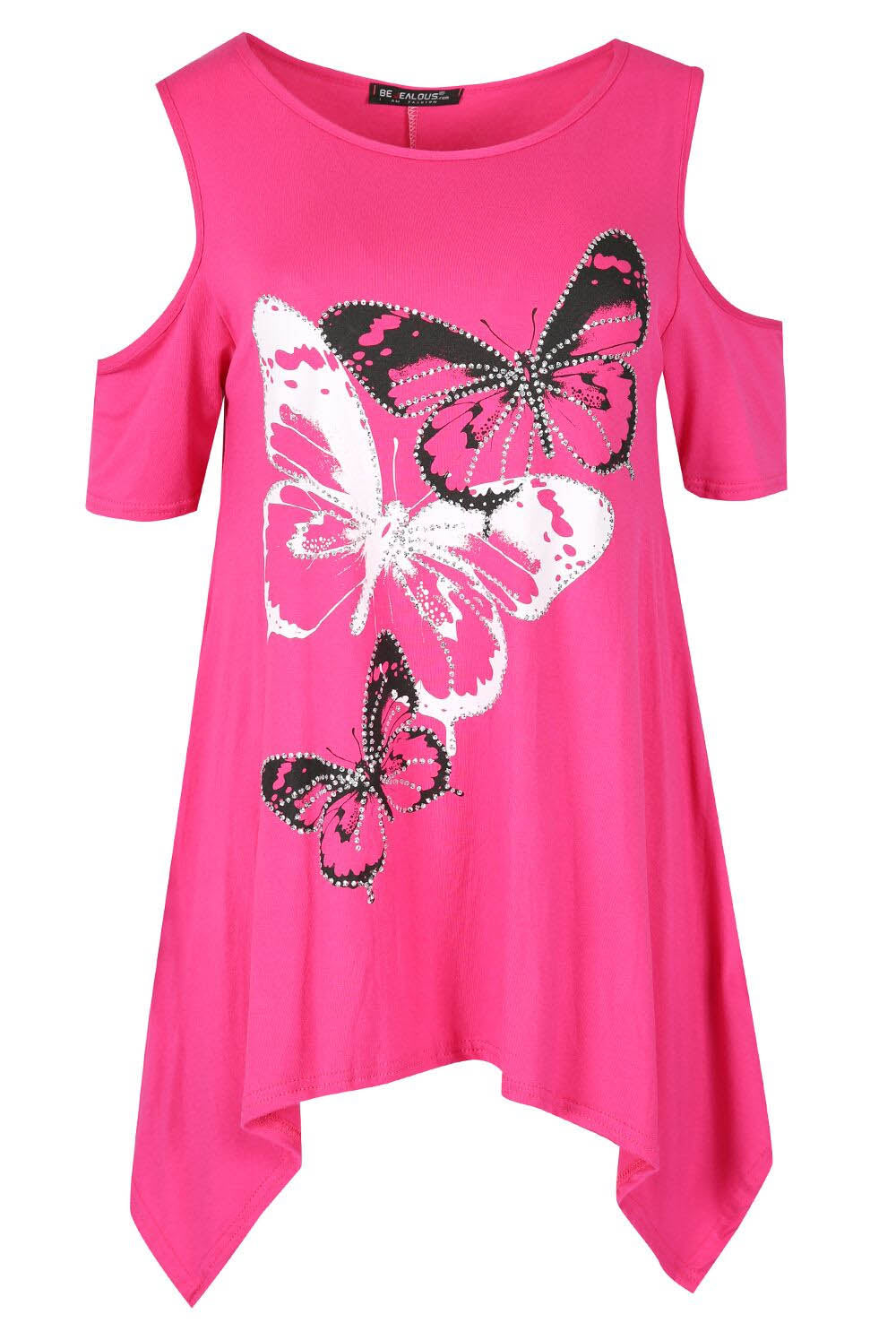 Cold Shoulder Butterfly Print Dipped Hem Top - bejealous-com
