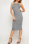 Strappy Grey Basic Jersey Midi Bodycon Dress - bejealous-com