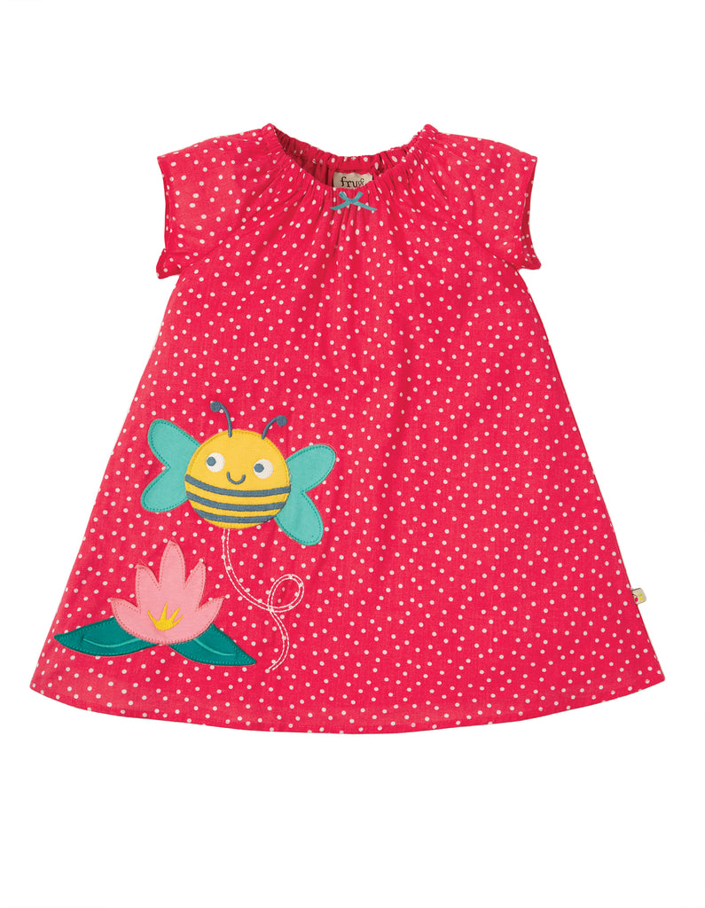 Frugi Amy Applique Dress - Geranium Scatter Spot/Bee - Tilly & Jasper