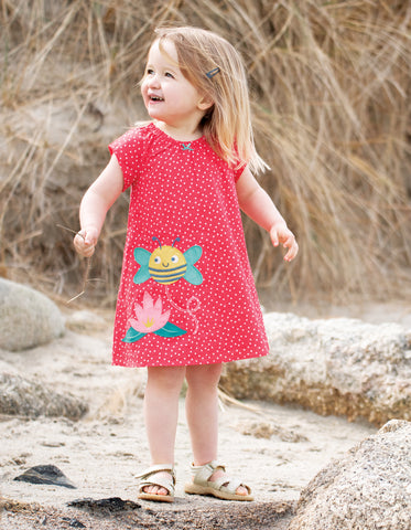 Frugi Amy Applique Dress - Geranium Scatter Spot/Bee