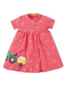 Frugi Jade Jersey Dress - Coral Polka Dot/Tractor - Tilly & Jasper