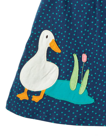 Frugi Little Lola Dress - Marine Blue Scatter Spot/Duck - Tilly & Jasper