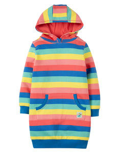 Frugi Harriet Hoody Dress - Bright Rainbow Stripe - Tilly & Jasper