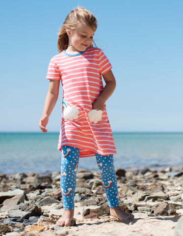Frugi Paige Pocket Dress - Coral Chunky Breton/Clouds