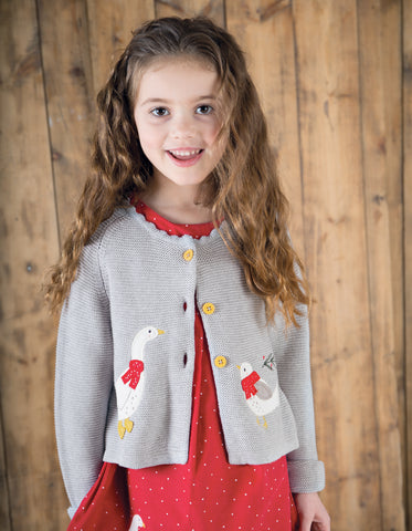 Image of Frugi Sweet Swing Cardigan - Grey Marl Melange/Goose - Tilly & Jasper