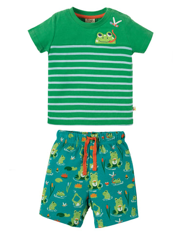 Image of Frugi Mousehole Outfit - Samson Green Frog Pond / Frog - Tilly & Jasper