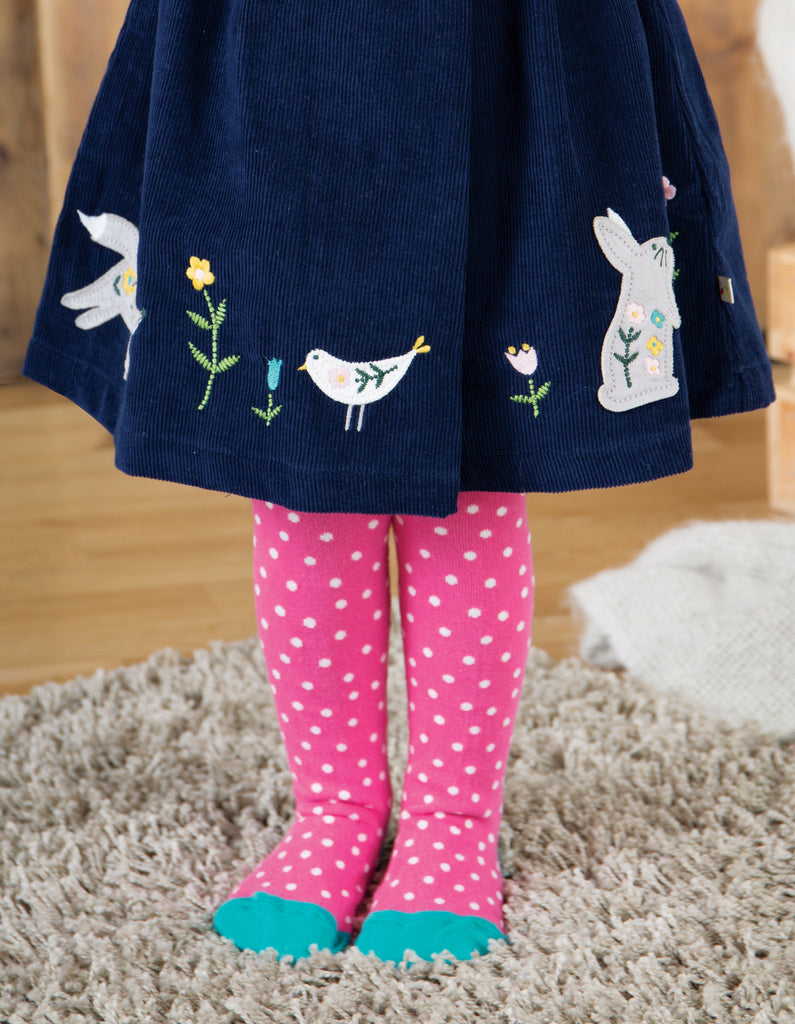 Frugi Tamsyn Tights - Flamingo Polka Dot - Tilly & Jasper