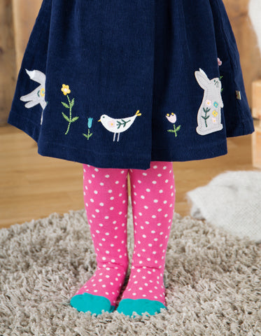 Image of Frugi Tamsyn Tights - Flamingo Polka Dot - Tilly & Jasper