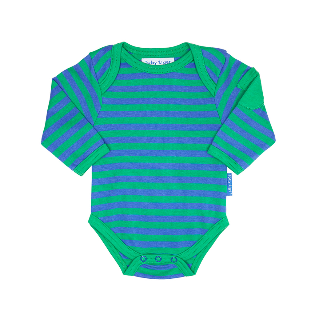 Toby Tiger Green Stripe Baby Bodies 2 Pack