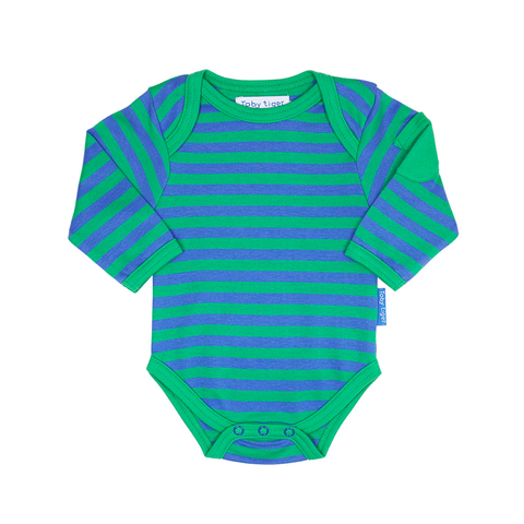 Image of Toby Tiger Green Stripe Baby Bodies 2 Pack