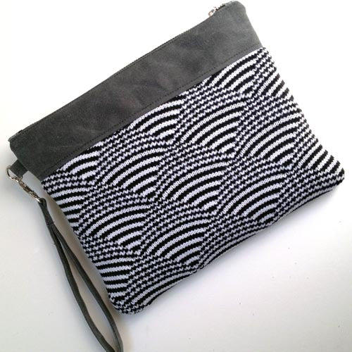 Wool and Waxed Canvas Clutch - White/Black
