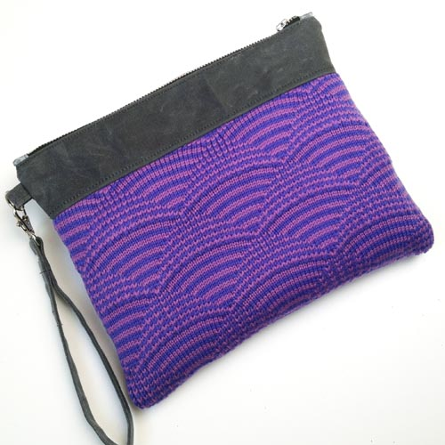 Wool and Waxed Canvas Clutch - Periwinkle/Lilac