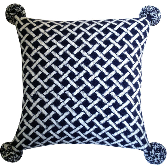 Wool Fair Isle Pillow with Pompoms: Lattice