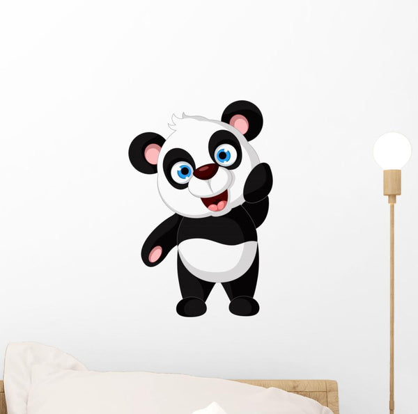 Cute Panda Cartoon Posing Nursery Wall Sticker
