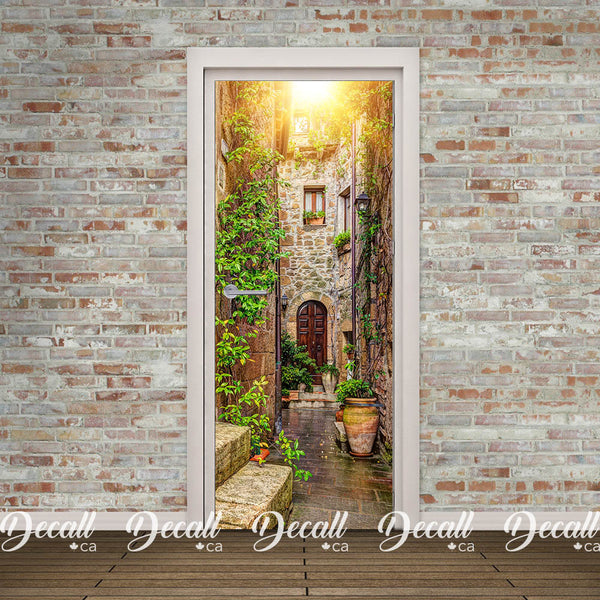 Alley in Italian Old Town Door Mural - Door-Murals - Decall.ca