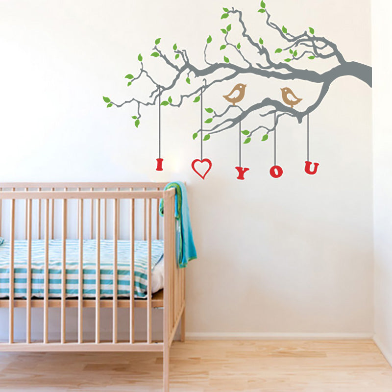 Cute Birds in Love on Branch with Custom Letters - Wall Decals - Wall-Decals - Decall.ca