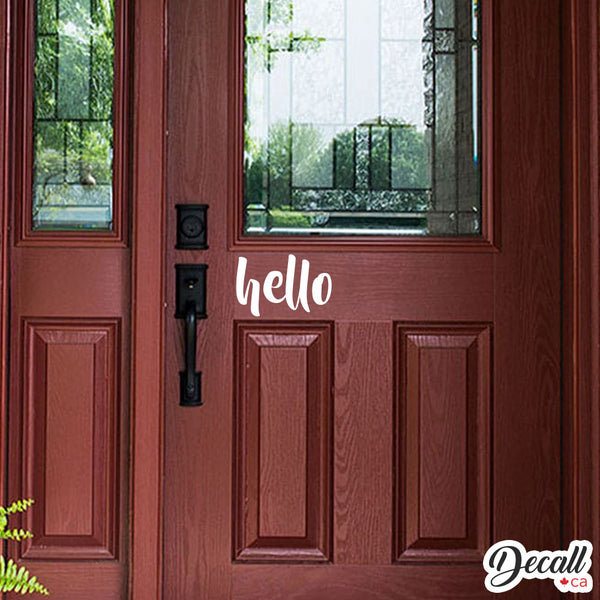Hello Door Decal - Hello Decal - Vinyl Decal - Hello Wall Decal - Wall-Decals - Decall.ca