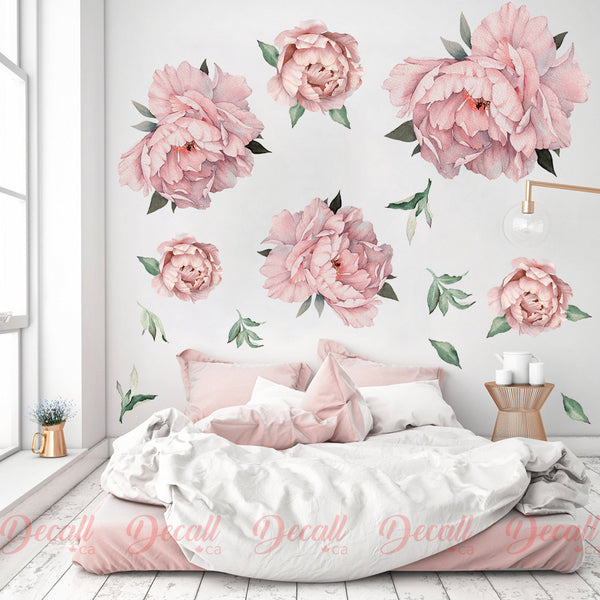 Pink Peony Flowers Wall Sticker - Vintage Watercolor - Peel and Stick Reusable Wall Stickers - DWS1041 - Wall-Stickers - Decall.ca