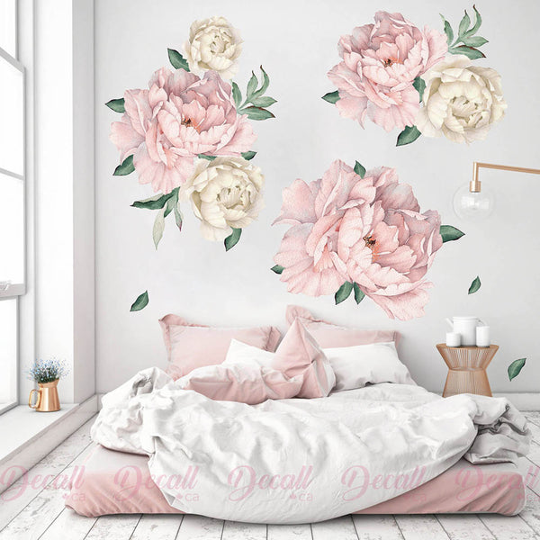 Pink & White Peony Flowers Wall Sticker - Watercolor - Peel & Stick Reusable Wall Stickers - DWS1045 - Wall-Stickers - Decall.ca