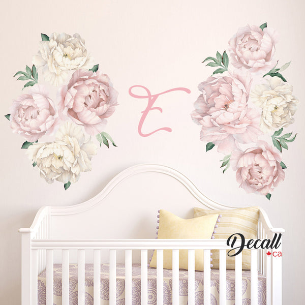 Pink & White Peony Flower Wall Decals - Peel & Stick Reusable Wall Stickers - DWS1059 - Wall-Stickers - Decall.ca