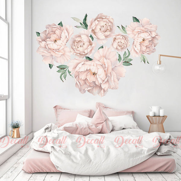 Soft Pink Peony Flowers Nursery Wall Sticker - Reusable Watercolor Wall Decal - DWS1049 - Wall-Stickers - Decall.ca