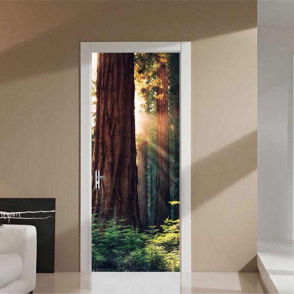 Sunlight in the Sequoias of Mariposa Grove Door Mural - Door-Murals - Decall.ca
