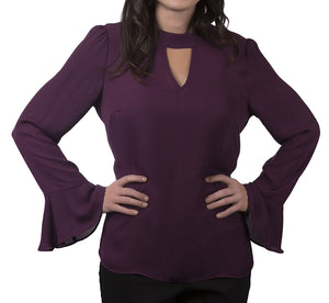 Fundamental Things Solid Crepe Blouse With Flutter Sleeves