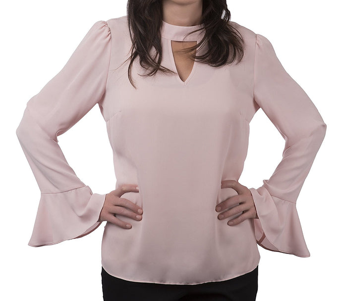 Solid Crepe Blouse With Flutter Sleeves