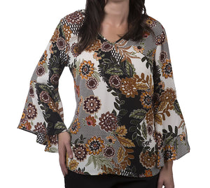 Patterned Blouse With Bell Sleeves and Cutout Back