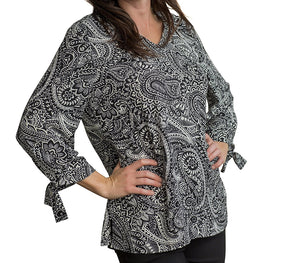 V-Neck Pop-Over Patterned Blouse With Tie Sleeves