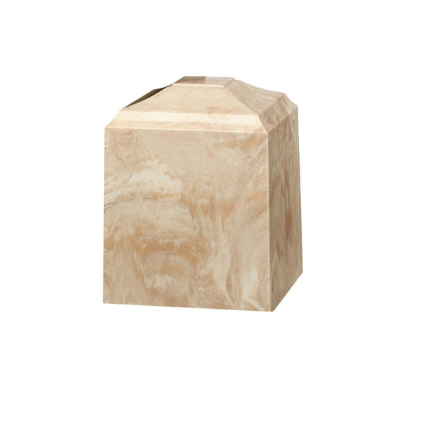 Marble pet urn in solid crème mocha cultured marble. Pet or small urn. Dimensions: 4.75 L x 4.75 W x 6 H, Capacity: 40 Cubic Inches. Weight: 7 lbs.