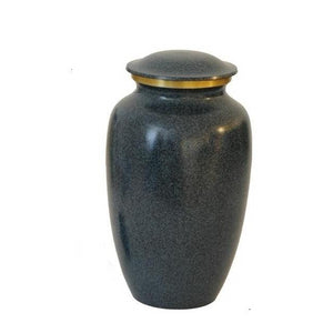 Black cremation urn made of fine brass. Large Size Dimensions: 10? H * 6 W? Capacity: 240 Cubic Inches.