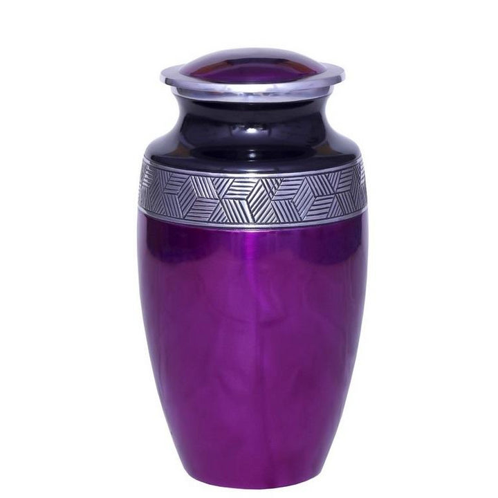 Purple cremation urn, made of strong alloy metal. Large Size Dimensions: 10? H * 6 W? Capacity: 240 Cubic Inches.