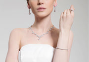 AAA CZ Necklace and Earring Jewelry Set for Brides, Weddings and Special Occasion