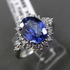 ESTATE 2.27CT DIAMOND & AAA TANZANITE 18KT WHITE GOLD HALO OVAL ENGAGEMENT RING
