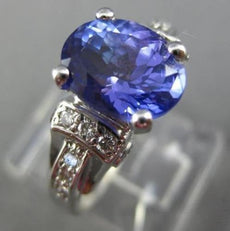 ESTATE 2.87CT DIAMOND & AAA TANZANITE 14KT WHITE GOLD OVAL ENGAGEMENT RING #2933