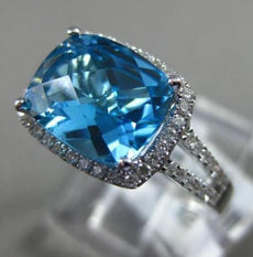 ESTATE 3.31CT DIAMOND & BLUE TOPAZ 14KT WHITE GOLD 3D FILIGREE ENGAGEMENT RING