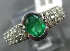 ESTATE 1.53CT DIAMOND & EMERALD 14KT WHITE GOLD OVAL SEMI BEZEL ENGAGEMENT RING