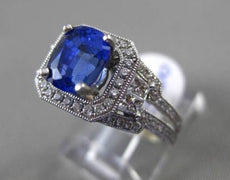 ESTATE 3.06CT DIAMOND & AAA SAPPHIRE 18K WHITE GOLD 3D OCTOGON ENGAGEMENT RING