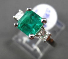 ESTATE 2.01CT DIAMOND & EMERALD 14KT WHITE GOLD 3 STONE SQUARE ENGAGEMENT RING