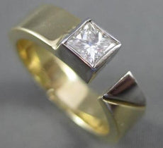 ESTATE .40CT PRINCESS DIAMOND 14KT WHITE & YELLOW GOLD 3D SOLITAIRE RING #11004