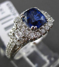 ESTATE 2.32CT DIAMOND & SAPPHIRE 18KT WHITE GOLD SQUARE FILIGREE ENGAGEMENT RING