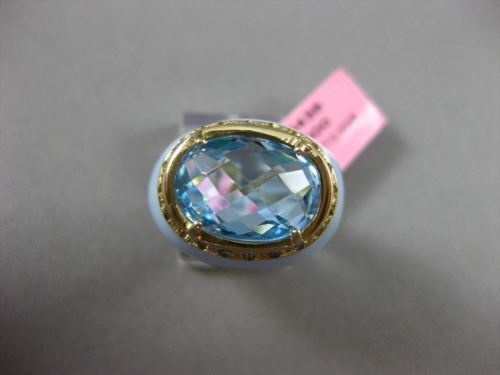 ANTIQUE WIDE .30CT DIAMOND & AAA BLUE TOPAZ 14KT YELLOW GOLD BLUE ENAMEL RING
