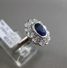 ESTATE 2.12CT DIAMOND & SAPPHIRE 18KT WHITE GOLD SEMI BEZEL HALO ENGAGEMENT RING