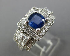 ESTATE 2.75CT DIAMOND & CEYLON SAPPHIRE 14KT GOLD SQUARE ENGAGEMENT RING #25437