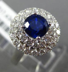 ESTATE 2.17CT DIAMOND & SAPPHIRE 18KT WHITE GOLD 3D DOUBLE HALO ENGAGEMENT RING