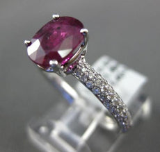 ESTATE 2.22CT DIAMOND & AAA RUBY 18KT WHITE GOLD OVAL SOLITAIRE ENGAGEMENT RING
