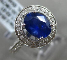 ESTATE 2.27CT DIAMOND & SAPPHIRE 18K WHITE GOLD 3D HALO MILGRAIN ENGAGEMENT RING