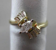 ESTATE .40CT BAGUETTE & MARQUISE DIAMOND 14KT 2 TONE GOLD ENGAGEMENT RING #23749
